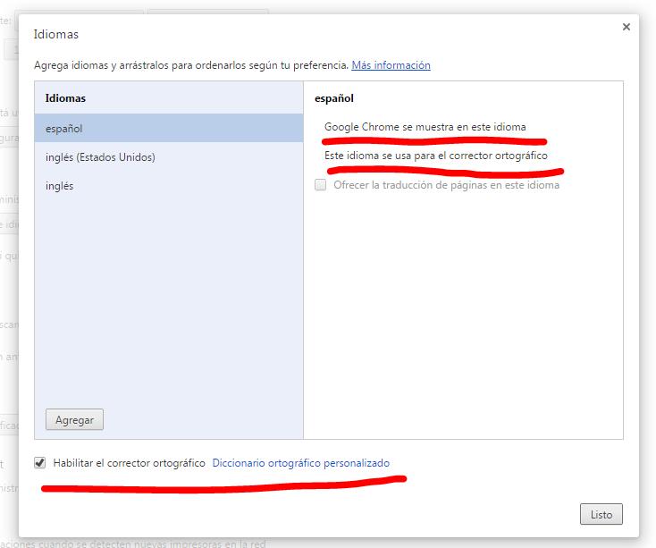 corrector ortográfico Chrome